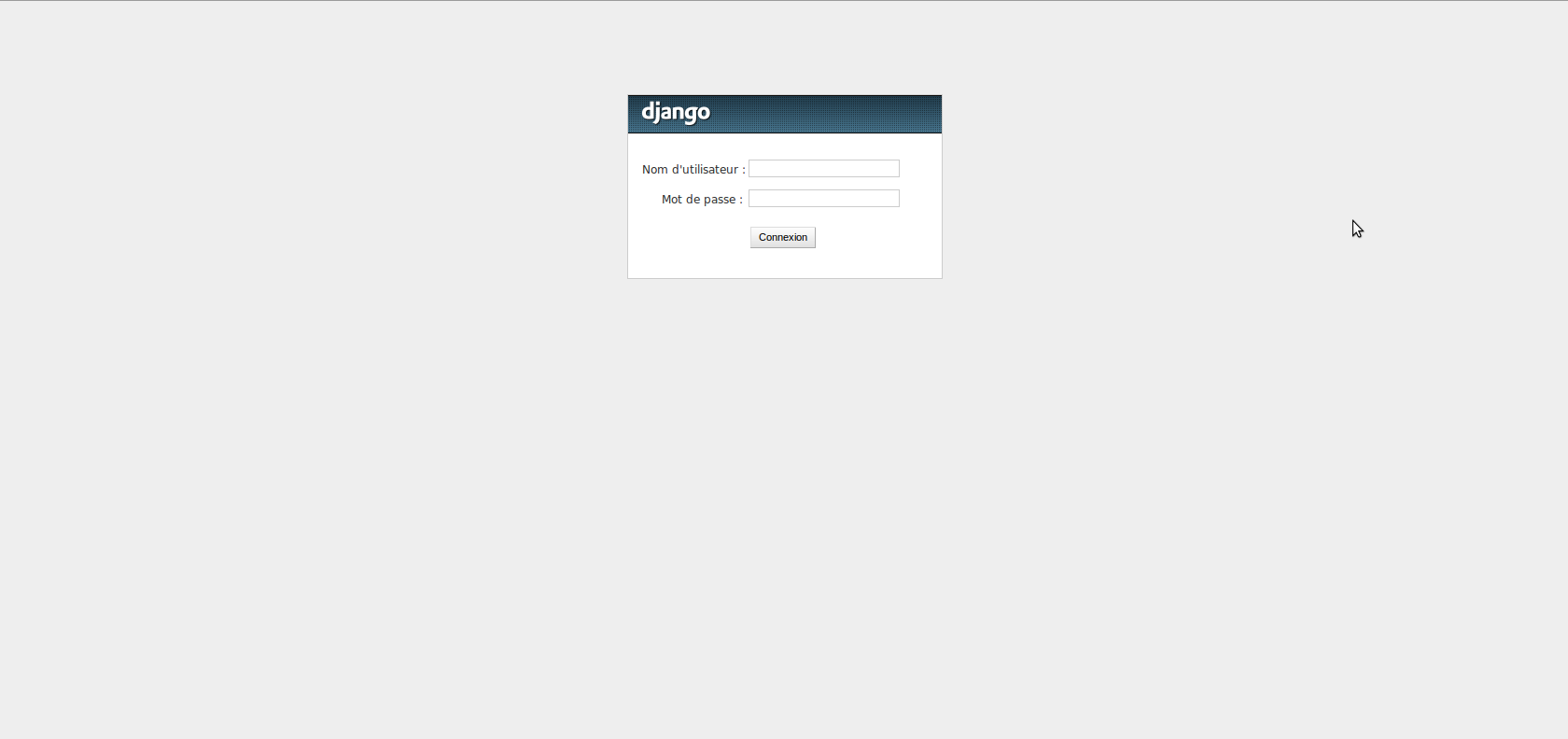 The django admin login screen